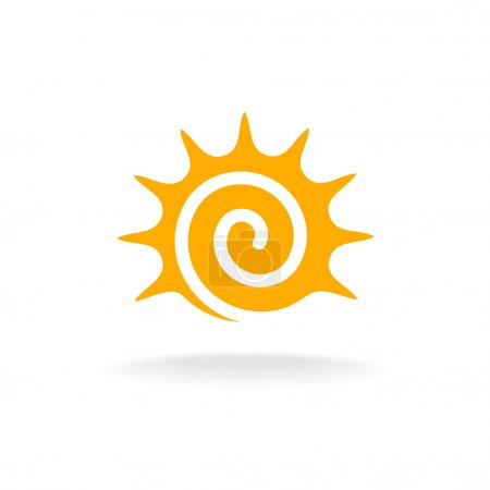 Illustration for Sun spiral logo. Simple sunshine stylized tribal symbol. on white background - Royalty Free Image