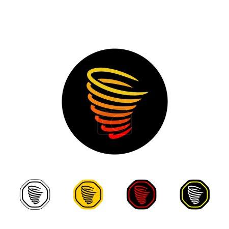 Illustration pour Logo vectoriel Tornado sur noir. Panneau d'avertissement avec variations. sur fond blanc - image libre de droit