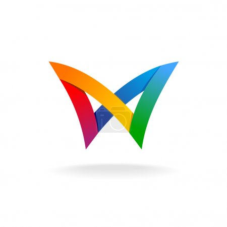 Illustration for Colorful rainbow ribbons style butterfly logo - Royalty Free Image