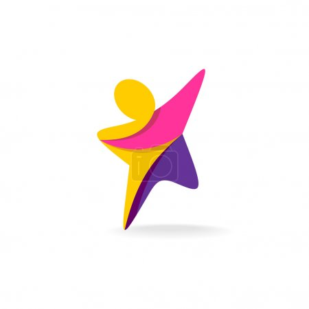 Colorful star shaped man silhouette reaching up lo...