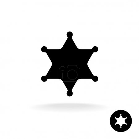 Sheriff star black symbol.