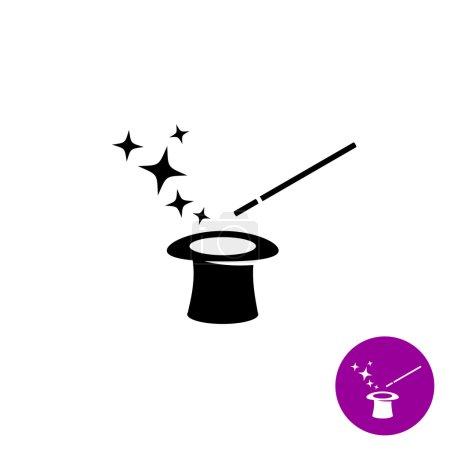Illustration pour Baguette magique avec chapeau magicien et étoiles symbole noir - image libre de droit