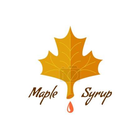 Illustration pour Panneau de sirop d'érable. Logo avec feuille, goutte et texte . - image libre de droit