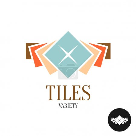 Illustration for Tiles variety logo. Row of the color square tiles for interior apartment design. - Royalty Free Image