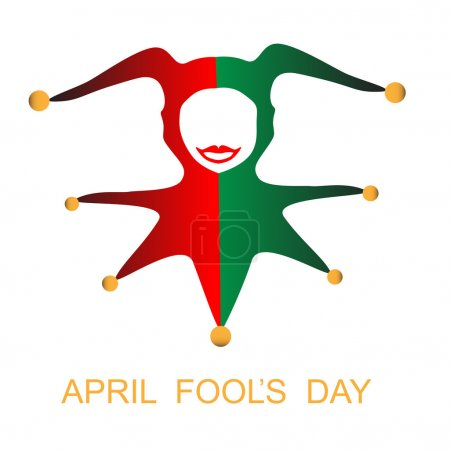 Illustration for April fools day card with harlequin - Royalty Free Image