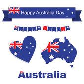 Australia flag banner and heart icon patterns set illustration