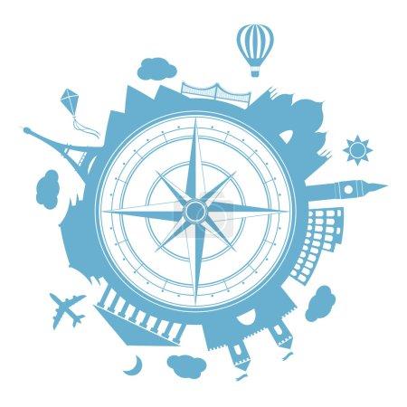 Illustration pour Famouse places. Temps de voyage illustration vectorielle. Partout dans le monde, voyageant en avion, voyage avion dans divers pays. Affiche de style plat icon design moderne. Bannière de voyage. Voyage de la rose des vents - image libre de droit