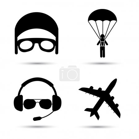 Skydiver on parachute, pilot, airplane silhouette icons. Vector format