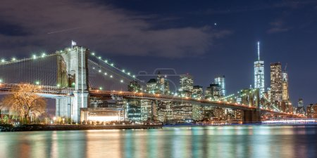 Brooklyn bridge and New York City Downtown in twilight