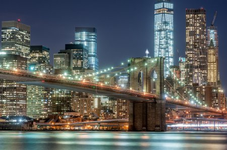 Brooklyn bridge and New York City Downtown in twilight