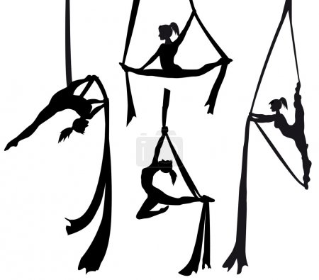 Aerial silk dancer in silhouette