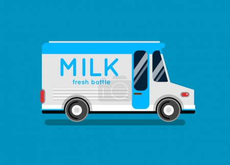 Delivery milk truck illustration.