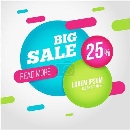 Illustration pour Grande bannière de promotion de vente avec offre. Pour coupon ou fond web. Conception vectorielle colorée - image libre de droit