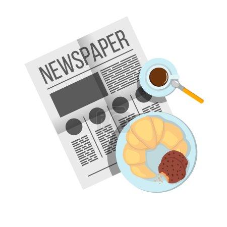 Photo pour Petit déjeuner sandwich avec vue sur le café. Assiettes de petit déjeuner sur la table. Journal sur table avec illustration de nourriture. Matin petit déjeuner nourriture et boisson . - image libre de droit