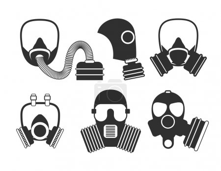 Illustration for Gas mask vector set. Gas mask for firefighters and military. Respirator mask. Gasmask with filter. Different kinds of gas mask illustration. - Royalty Free Image