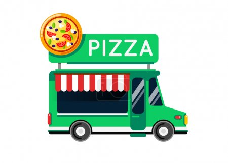 Illustration for Pizza food truck city car. Food truck, auto cafe, mobile kitchen, italian pizza. . Isolated on white - Royalty Free Image