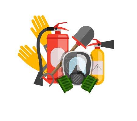 Illustration pour Ensemble de vecteurs d'équipement de sécurité. Protection incendie et incendie. masque à gaz et un extincteur. Définir pompier ou sauveteur. Des outils de sauvetage. Travaux de sécurité - image libre de droit