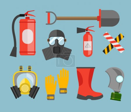 Illustration for Safety equipment vector set. Fire protection and fire. gas mask and a fire extinguisher. Set firefighter or rescuer. Rescue tools. Safety work - Royalty Free Image