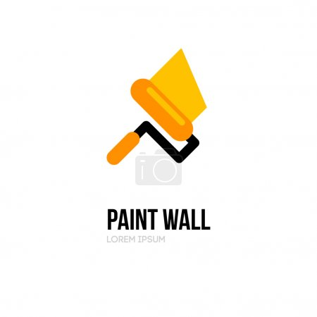 Illustration for Paint roller logo icon design template. Vector paint roll logo. Painting of walls. Repair of apartments and houses logo. - Royalty Free Image