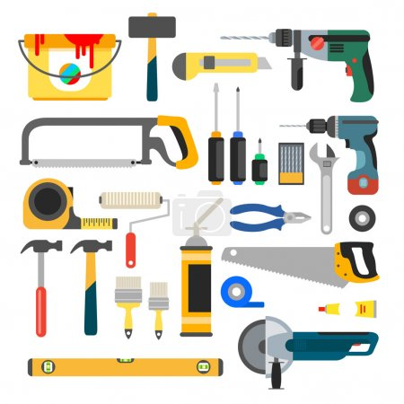 Illustration for Home repair tools icons in vector - Royalty Free Image