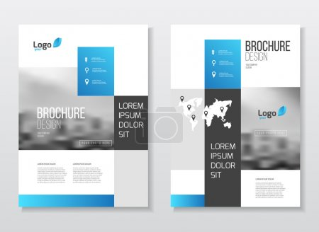 Illustration for Blue Business Brochure design. Blue Annual report vector illustration template. A4 size corporate business catalogue cover. Business presentation with photo and geometric graphic elements. - Royalty Free Image