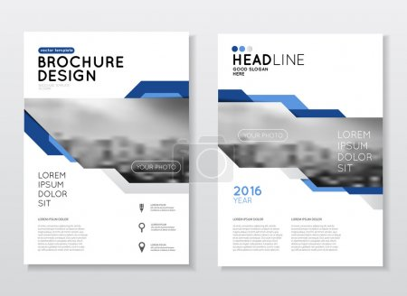 Illustration for Business Brochure design. Annual report vector illustration template. A4 size corporate business catalogue cover. Business presentation with photo and geometric graphic elements - Royalty Free Image