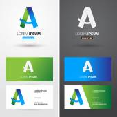 Business logo  card  with A letter