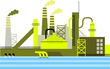 Illustration for Factory for manufacturing products or refinery plant for processing natural resources - vector illustration - Royalty Free Image