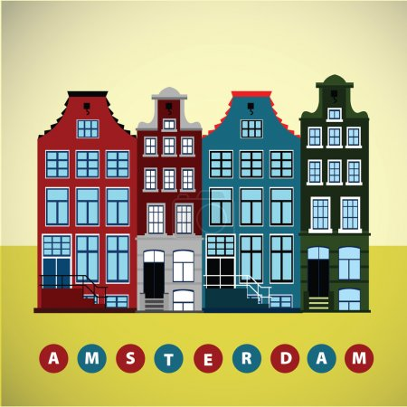 Illustration for Row of Amsterdam old european houses. Vector graphic. - Royalty Free Image