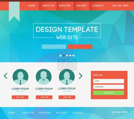 Illustration for Vector design website theme template. Landing web page layout with blurred background. - Royalty Free Image