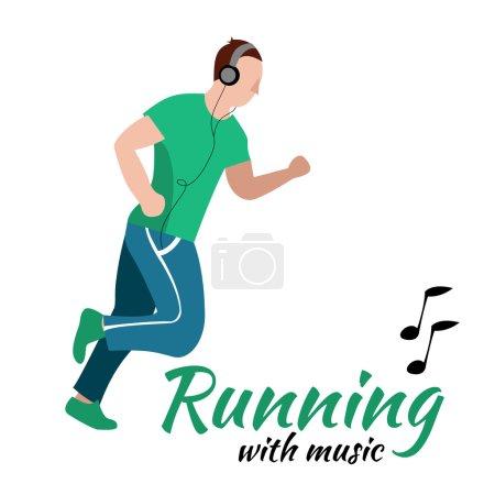 Running man with headphones