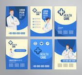 Vector health care brochure for clinic with doctors Medical flyer design