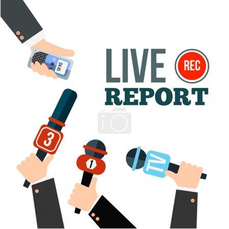Illustration pour Vecteur de concept de nouvelles en direct. Ensemble de mains tenant des microphones et des enregistreurs vocaux numériques. Modèle de rapport en direct. Illustration presse . - image libre de droit