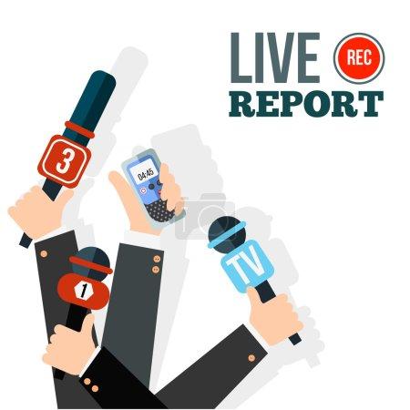 Illustration pour Concept de reportage en direct, nouvelles en direct, nouvelles chaudes, reportage, mains de journalistes avec microphones et enregistreurs numériques - image libre de droit