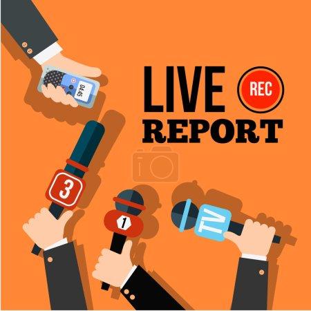 Illustration pour Vecteur de concept de nouvelles en direct. Ensemble de mains tenant des microphones et des enregistreurs de voix numériques. Modèle de rapport en direct. Illustration de presse. - image libre de droit