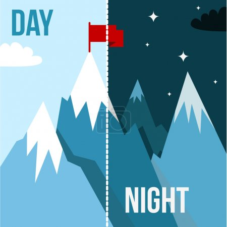 Illustration for Mountain landscape with winner flag. Illustration in flat style for winter resort - Royalty Free Image