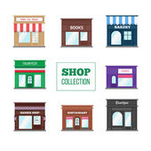 Flat shops and stores collection Books store boutique bakery candy shop coffee shop restaurant barber shop and other
