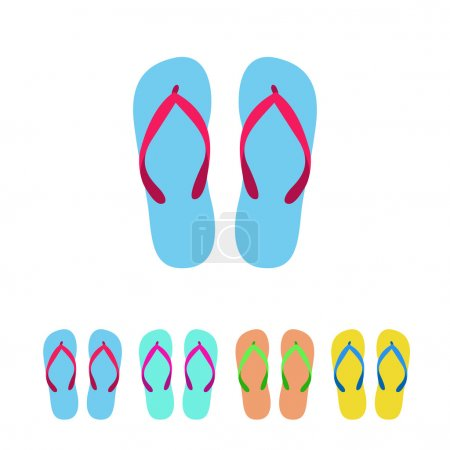 Colorful flip flops set