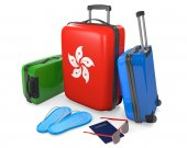 Travel luggage items and accessories for a vacation to or from Hong Kong, 3D rendering