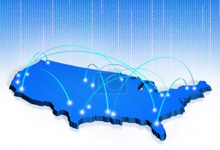 Map of the United States with connection points jo...
