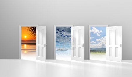 Choice of three doors opening to possible vacation or getaway destinations