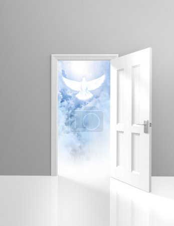 Photo for A doorway to a peaceful sight of fluffy clouds and a descending white dove. - Royalty Free Image
