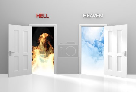 Doors to heaven and hell representing Christian belief and afterlife