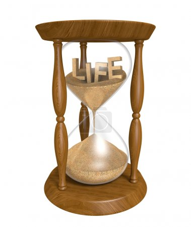 Old wooden sandglass with the word