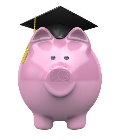 Photo pour Image conceptuelle de l'épargne tirelire pour les futurs frais de scolarité dans l'enseignement supérieur . - image libre de droit