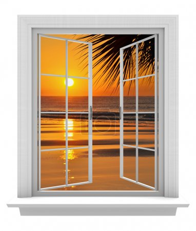 open window with a tropical beach