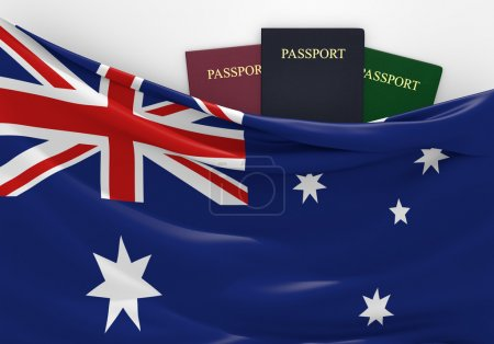 Travel and tourism in Australia, with assorted passports