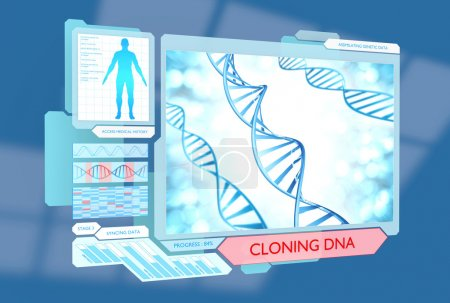 Medical science fiction concept of DNA cloning via futuristic biotechnology advances