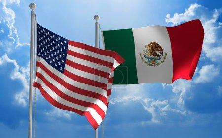 Photo pour Drapeaux des États-Unis et du Mexique volant côte à côte pour des pourparlers importants. - image libre de droit