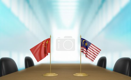 China and Malaysia relations and trade deal talks 3D rendering